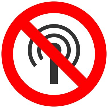 Forbidden sign with wi-fi antenna icon isolated on white background. Using wifi is prohibited vector illustration. WiFi is not allowed image. Wi-fi are banned.