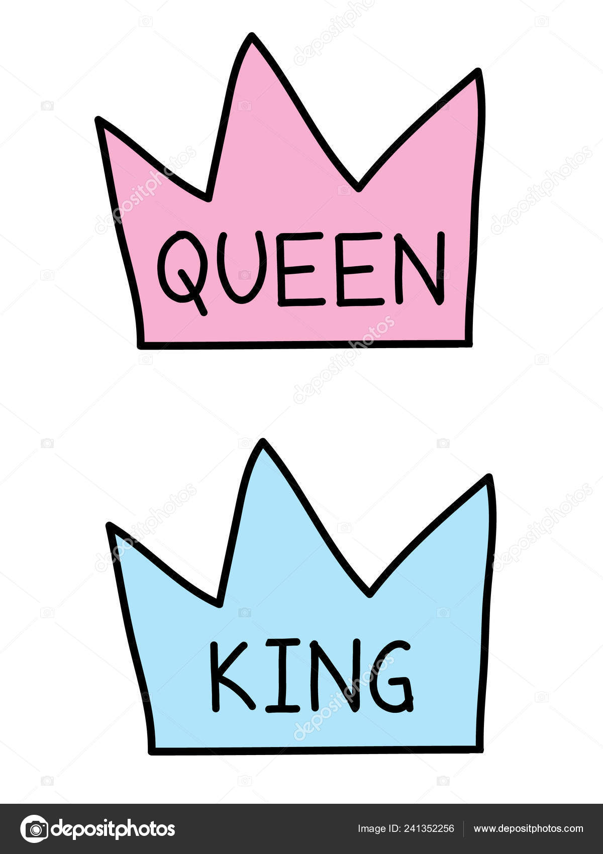 Drawings Of King And Queen Crowns King Queen Crowns Flat