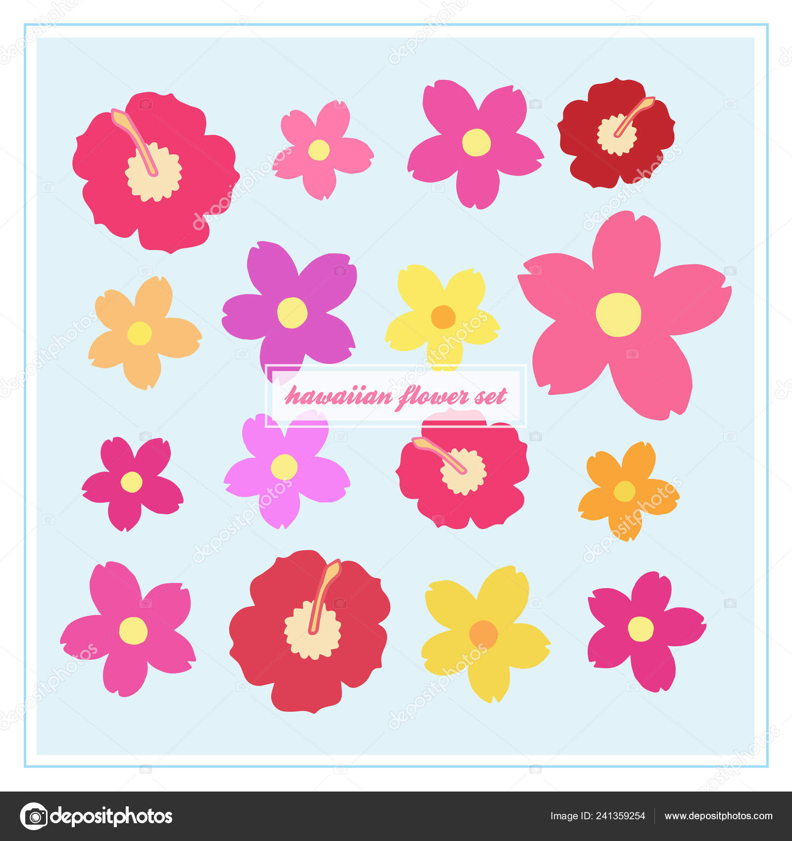 Hawaiian Flower Vector Set Hibiscus Oleander Blossom Icons Colorful Floral — Stock Vector