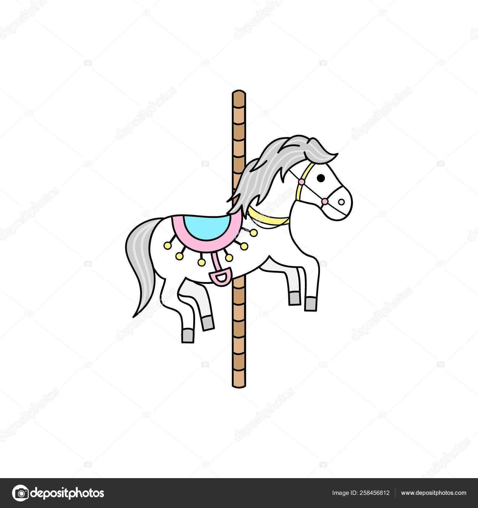 Merry Carousel Horse Pole Vector Outlined Illustration Icon Stock Vector C Kiki Vagnerova Gmail Com 258456812