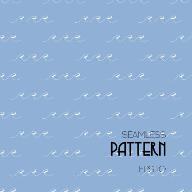 White waves - Seamless pattern on blue background. Vector illustration, eps10. Use for nautical style, travel design and different types of water sports, fabric, packaging, wrappers, wallpaper, shirt.