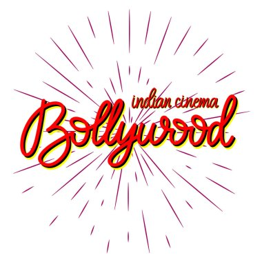 Bollywood traditional indian cinema lettering vector illustration.