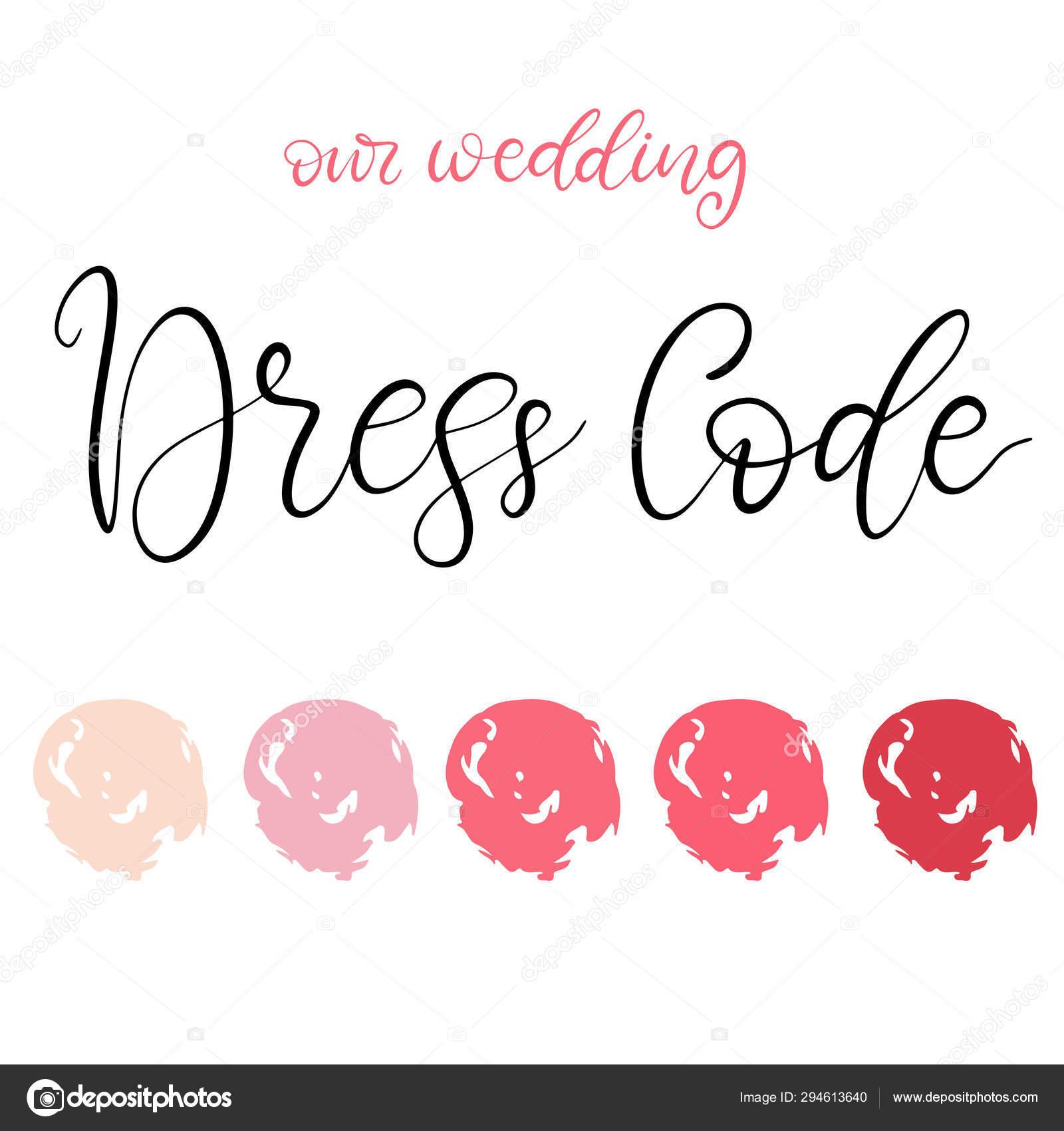 Wedding Dress Code Color Palette Stock Vector
