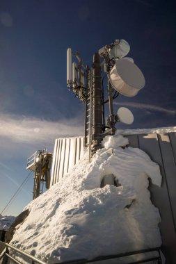 bavarian alps mountain top in winter radio station