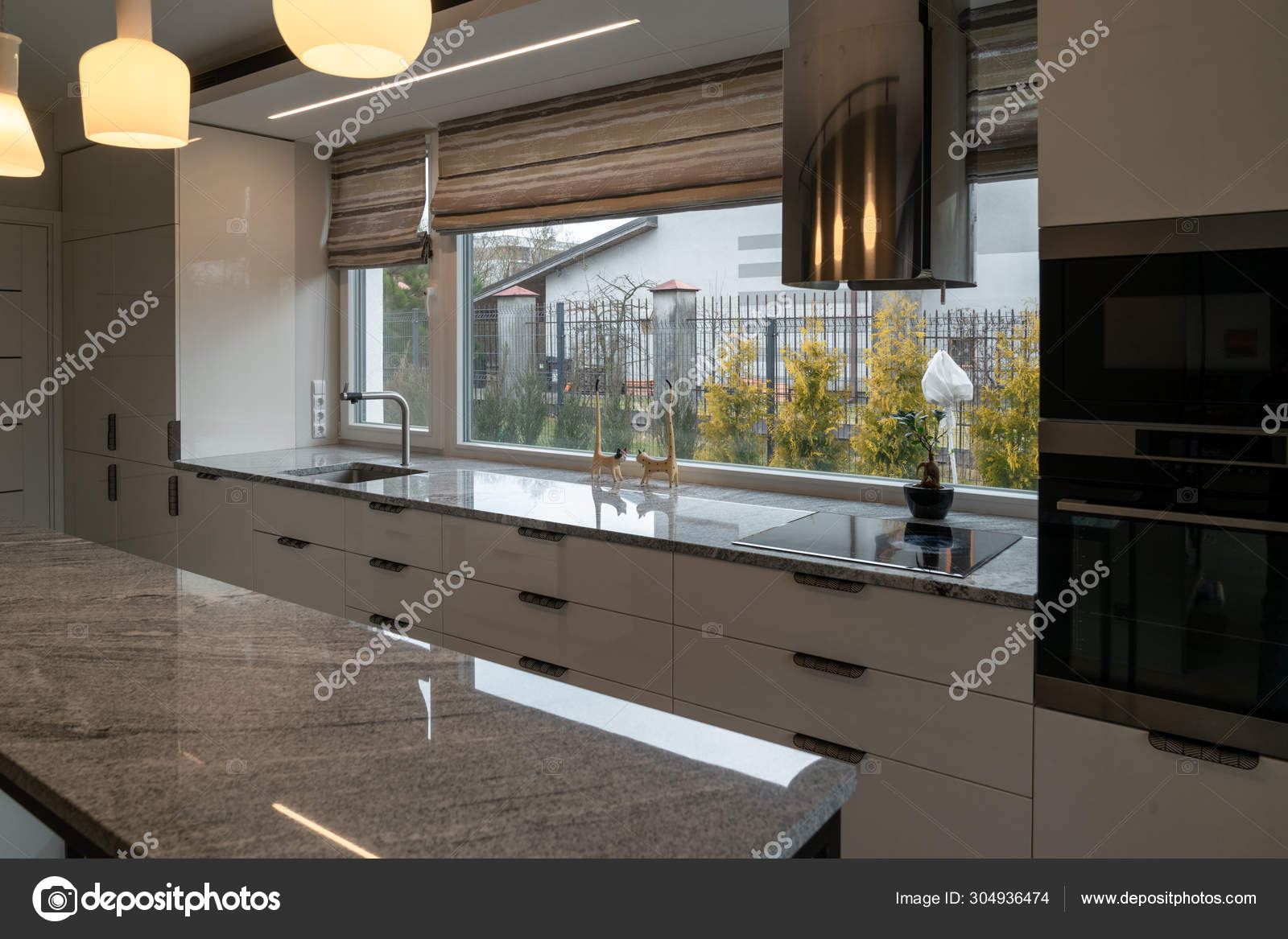 Modern Kitchen Furniture Marble Worktops Drawers Cabinets Faucet Kitchen Sink Stock Photo C Editosfoto 304936474
