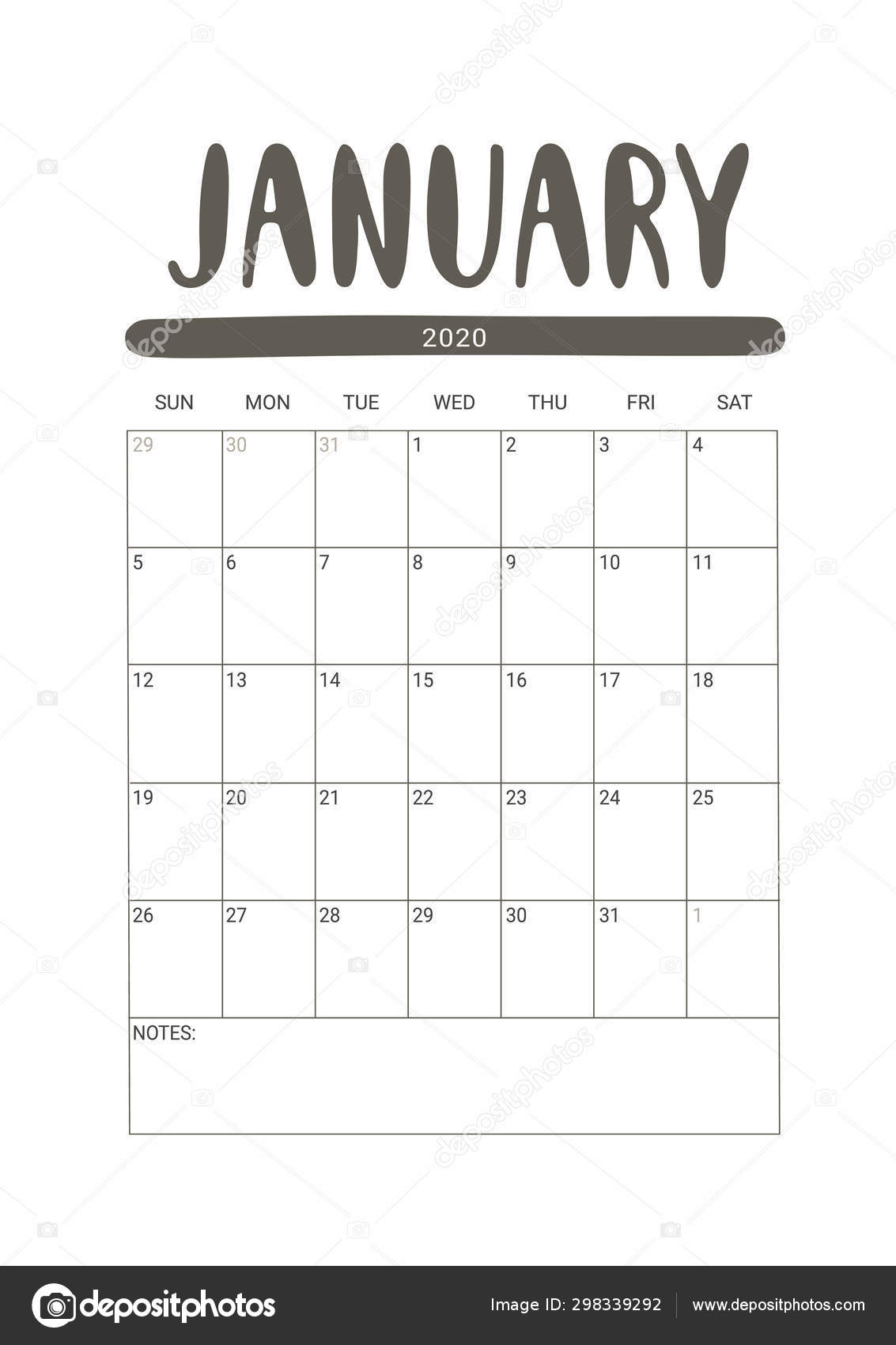 Vector Calendar Planner for January 2020  Stationery Design