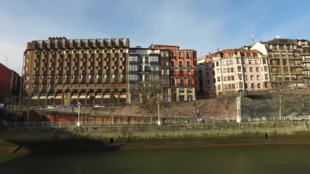 Palaces overlooking the Nervion River in the center of Bilbao, Spain. 01/25/2017.