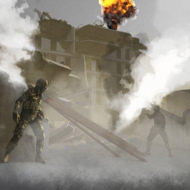 Enkaz, askerler, binalar, bombalama, terörizm ile savaş alanı. 3D render