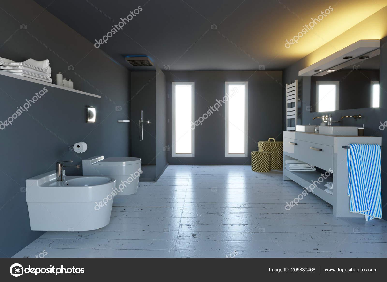 Modernes Badezimmer Komplett Mit Armaturen Dusche Und ...