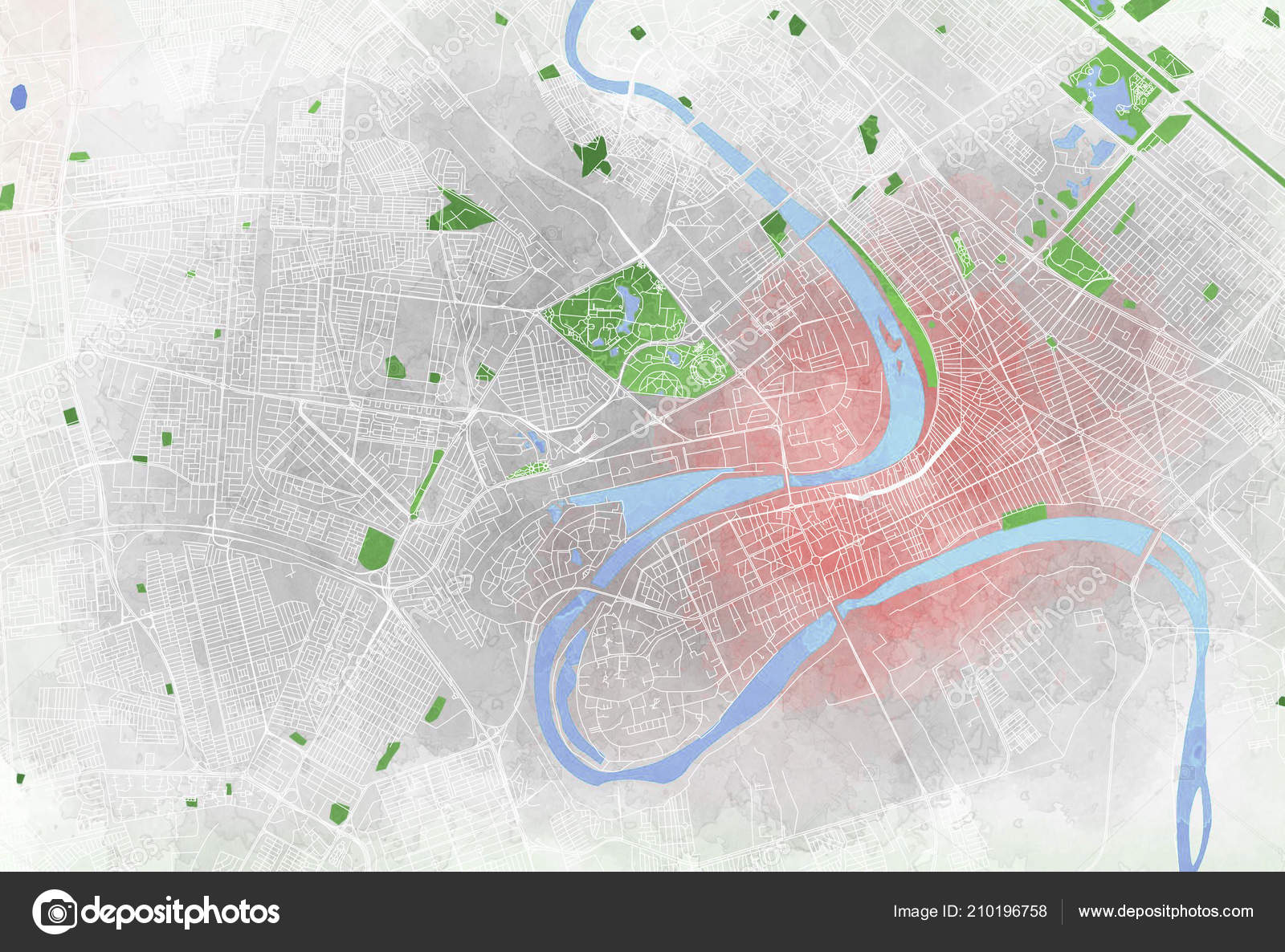Map Baghdad Satellite View City Streets Parks Rivers Iraq ...