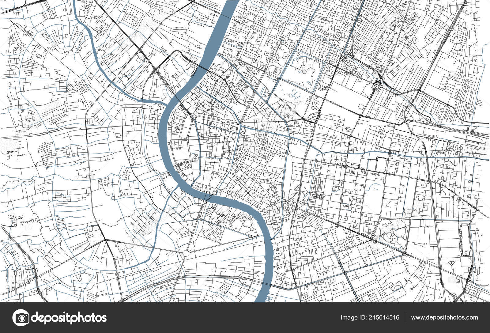 Bangkok Map Satellite View City Thailand Streets Rivers Stock