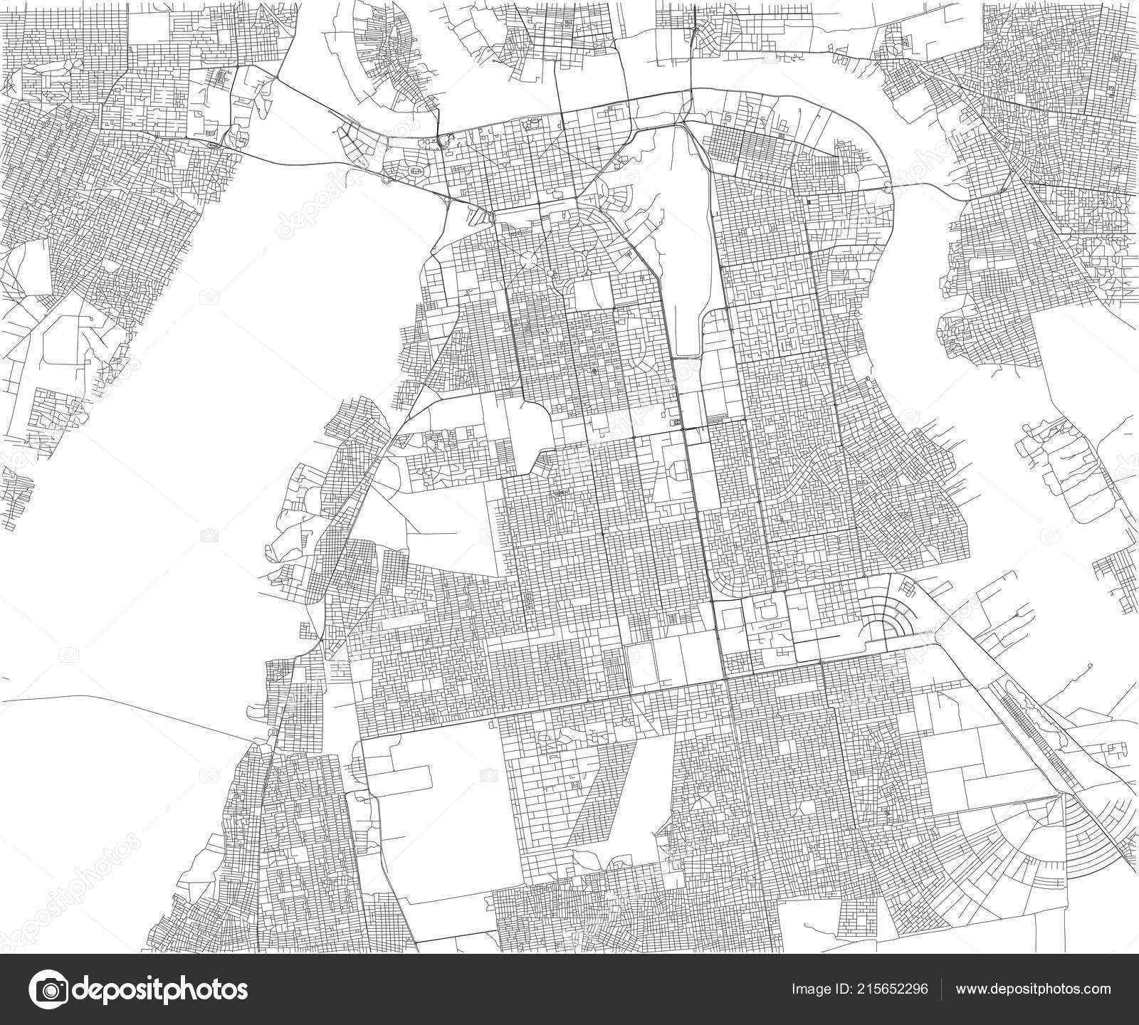 Map Khartoum Satellite View City Sudan Streets Africa Stock Vector