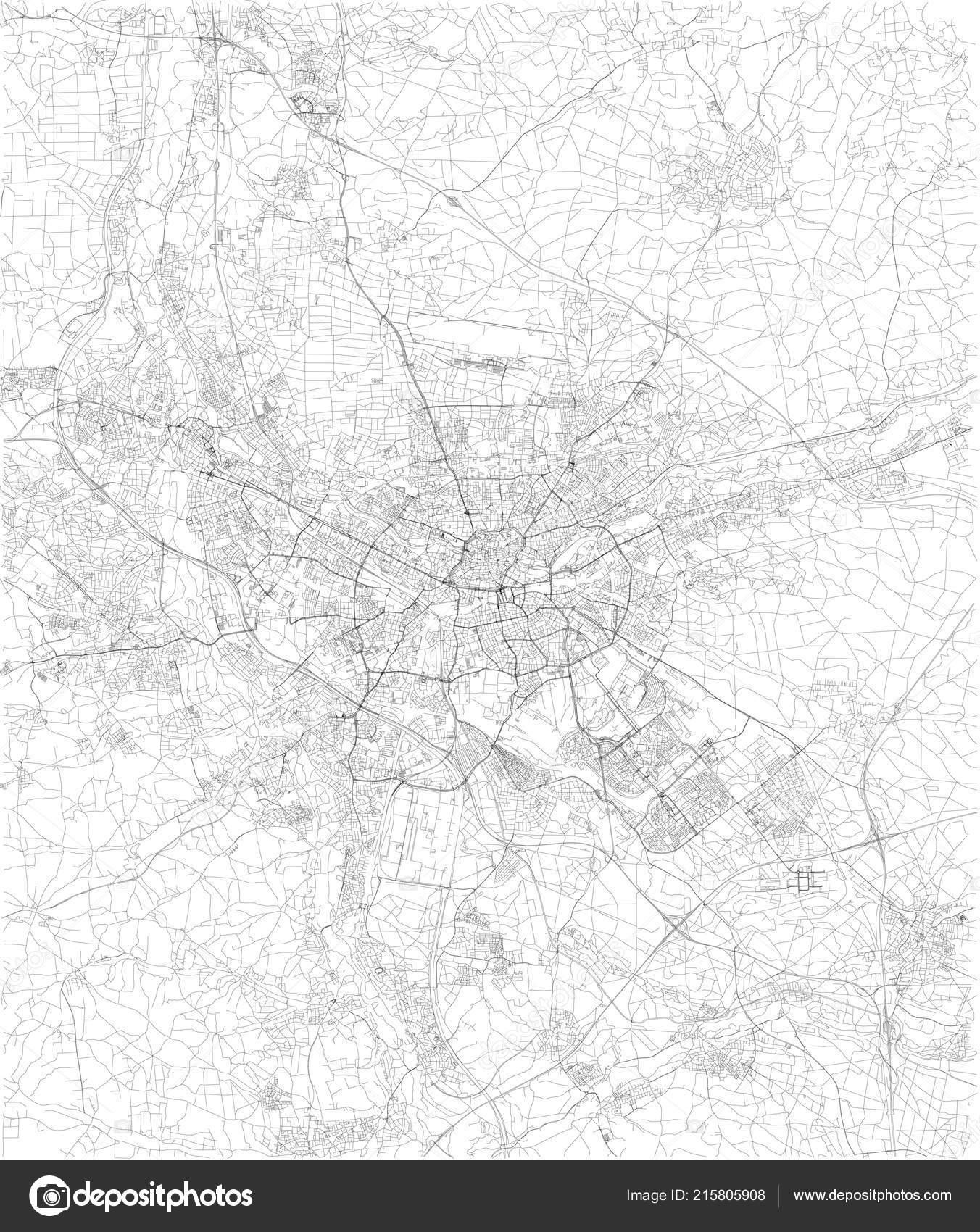 Nürnberg Karte Deutschland.Nürnberg Karte Satellitenbild Schwarze Und Weiße Karte Straße
