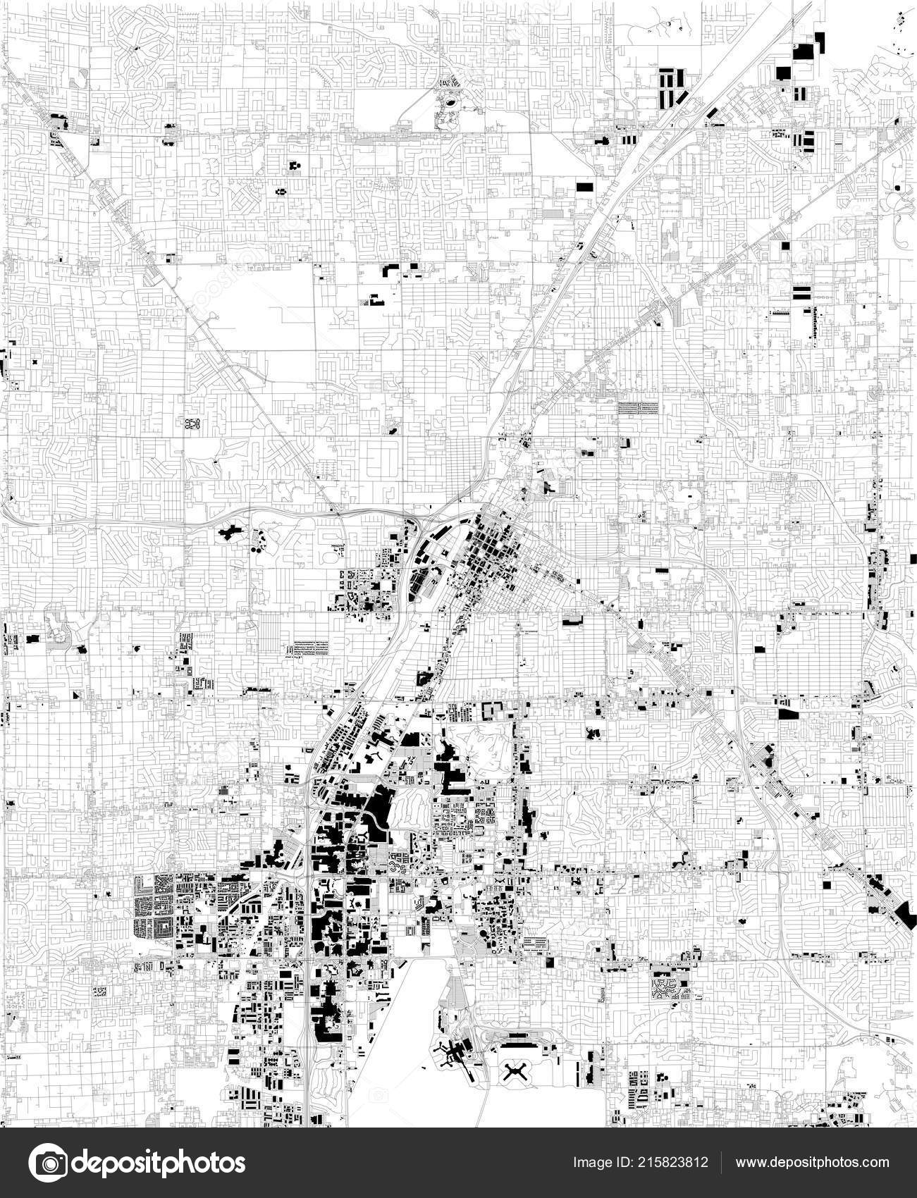 Map Las Vegas Satellite View Black White Map Street ...