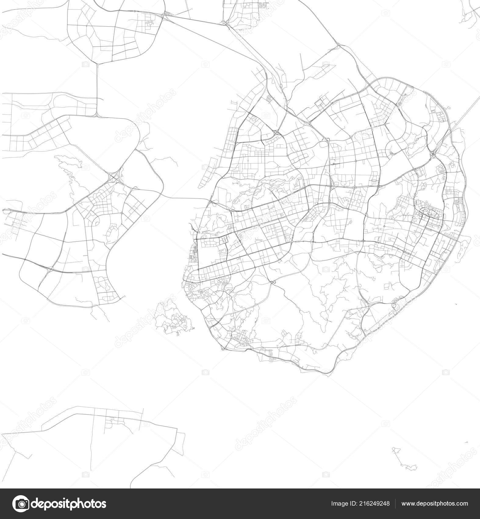 Xiamen China Map.Map Xiamen Fujian Province Satellite View Black White Map Street