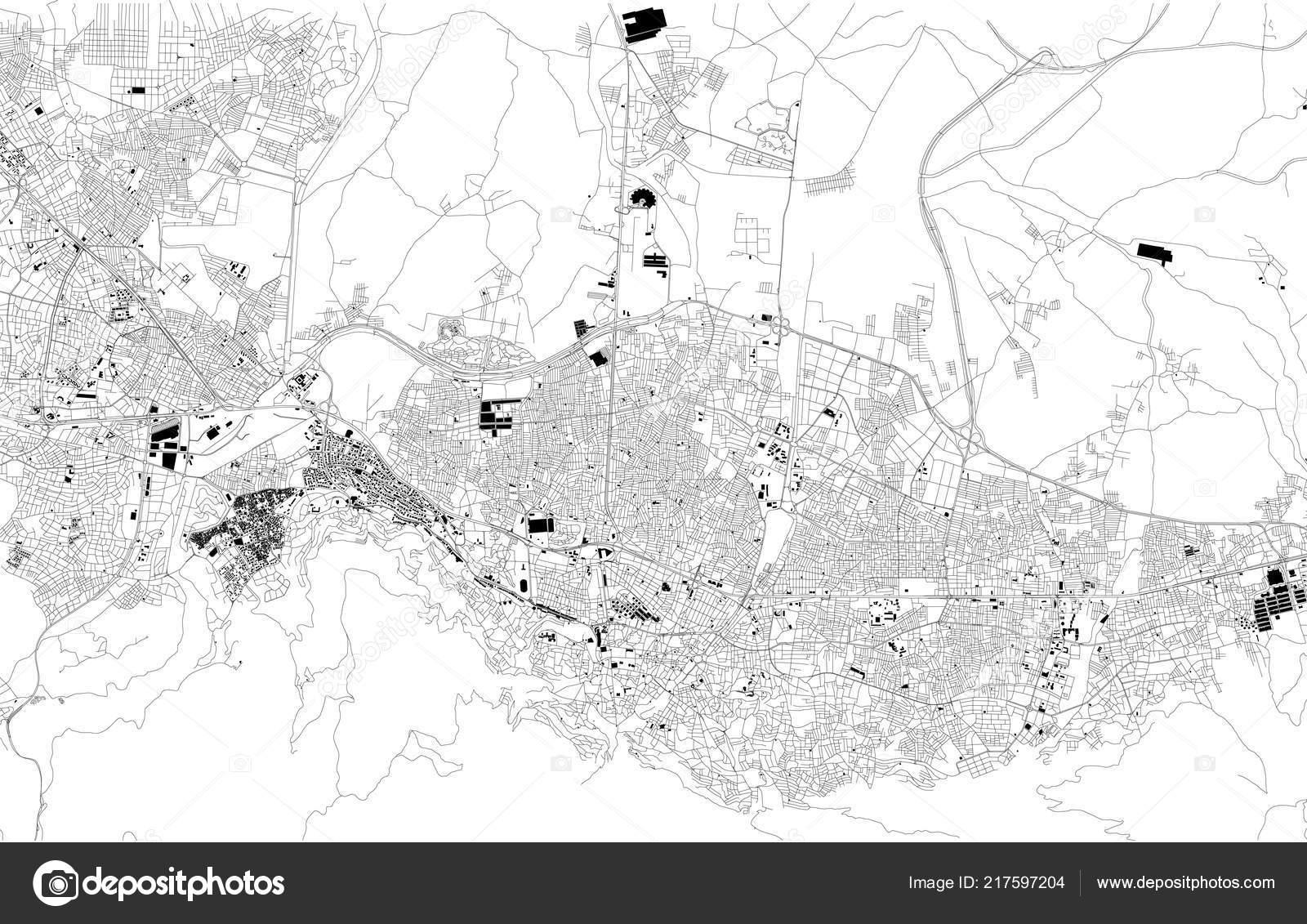 Map Of Asia Black And White.Map Bursa Turkey Satellite View Black White Map Street Directory
