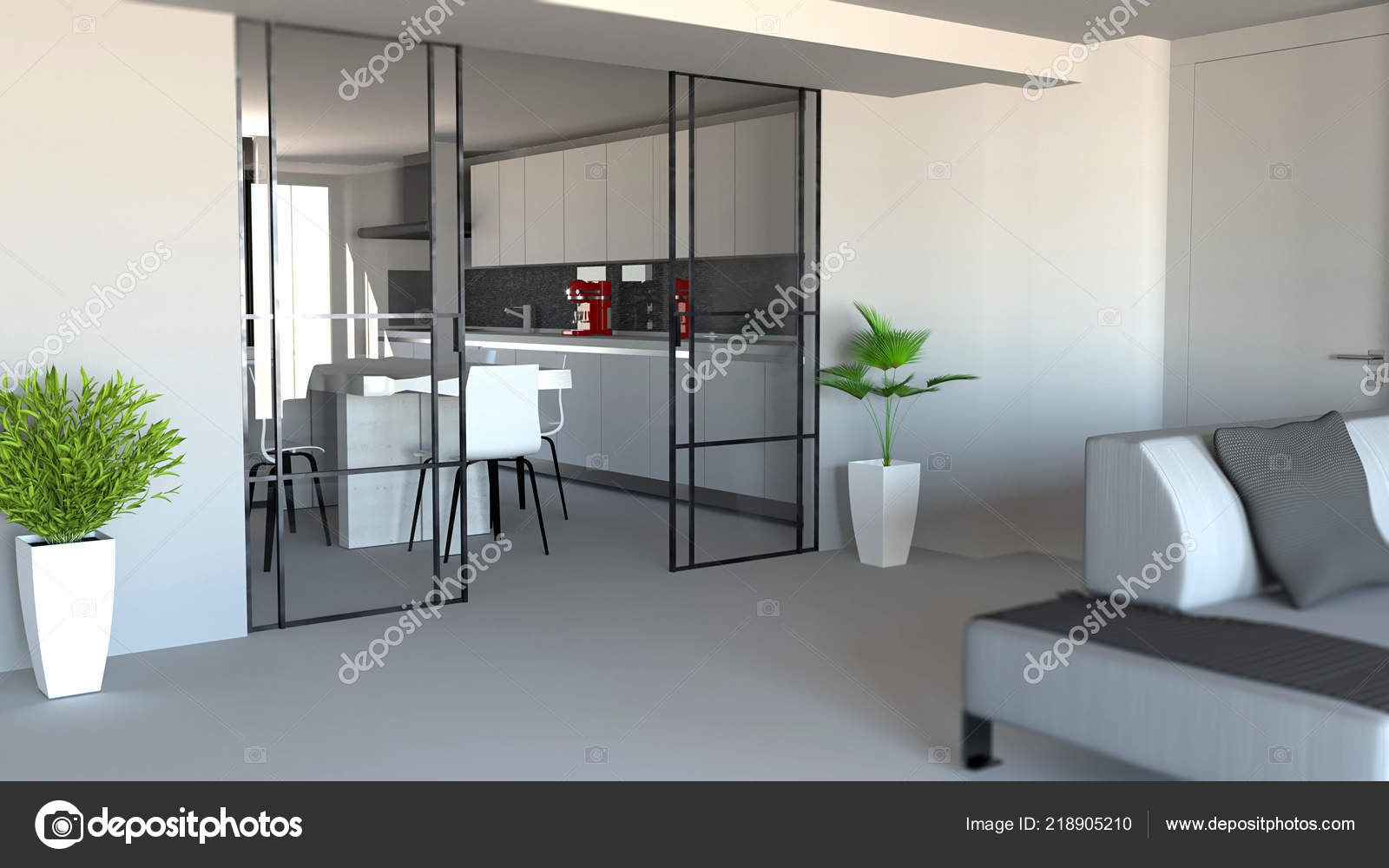 Sliding Door Living Room Kitchen Partition Modern Apartment Entrance Industrial Stock Photo C Vampy1 218905210
