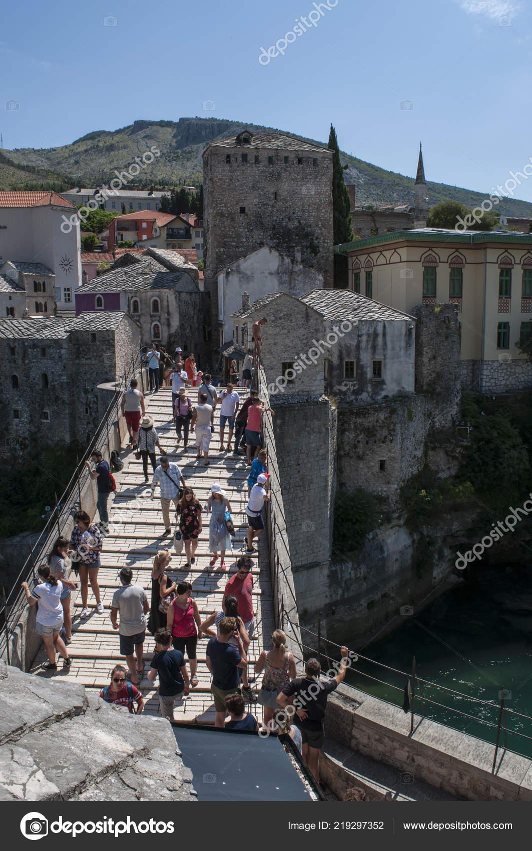 Mostar Bosnia Herzegovina 2018 Vista Del Stari Most Puente
