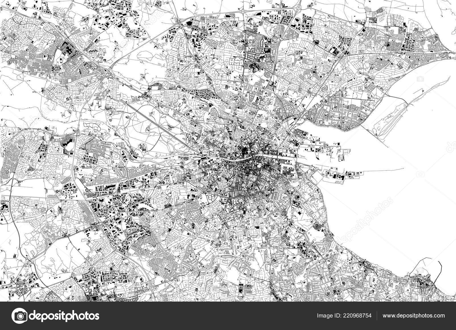 Satellite Map Of Ireland.Satellite Map Dublin Ireland City Streets Street Map City Center