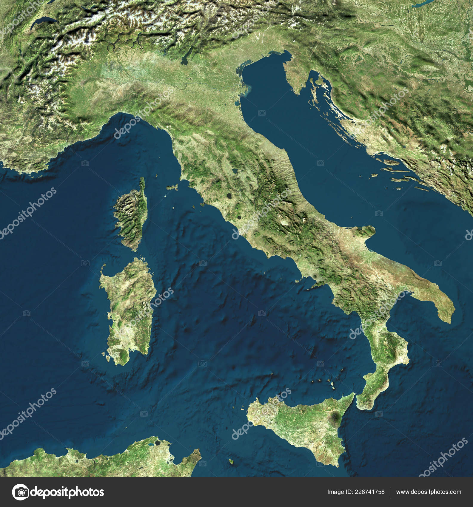 Mapa De Italia Fisico.Vista Satelite Italia Italia Mapa Fisico Relieves Llanos