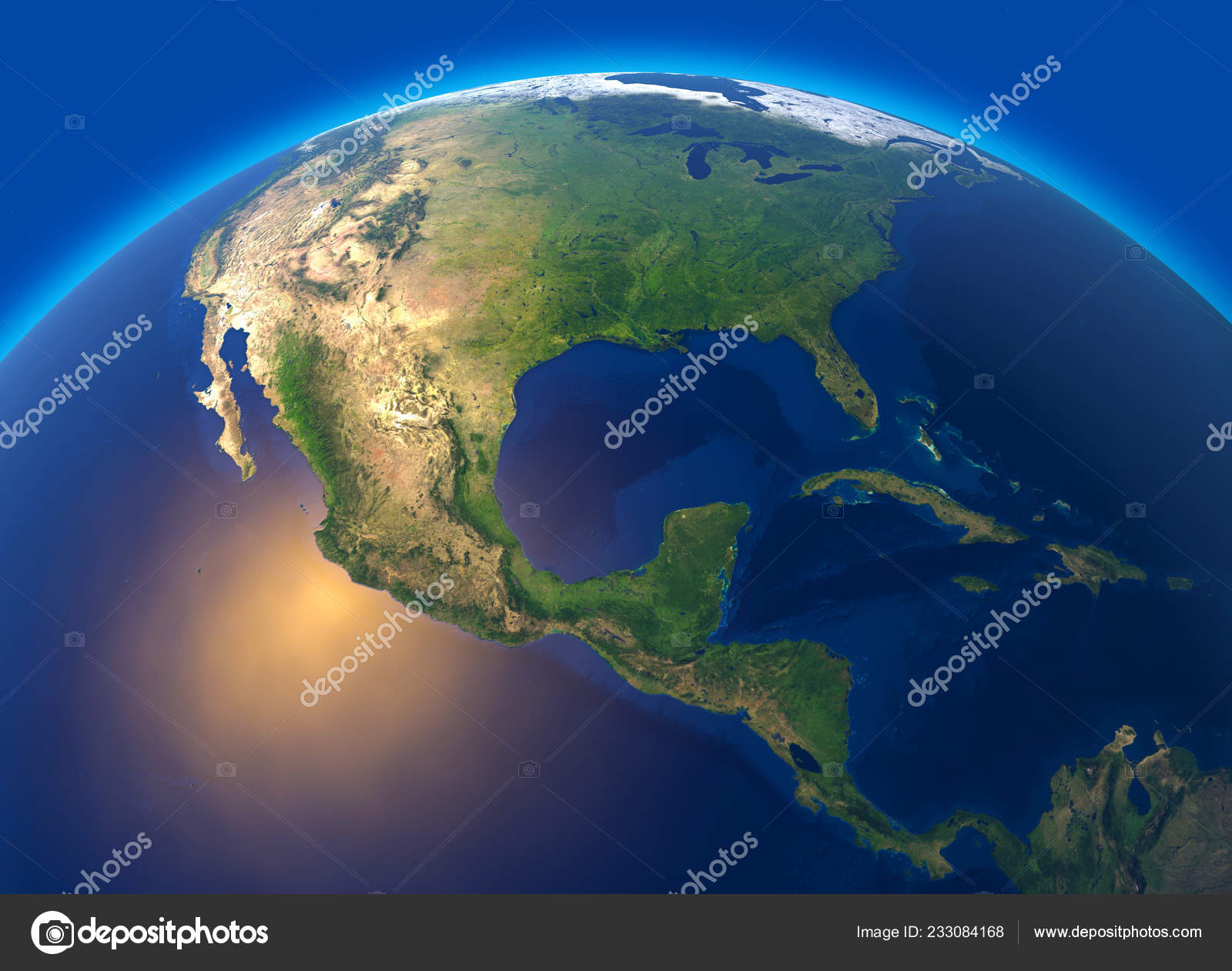 Physical Map World Satellite View Central America Globe Hemisphere ...