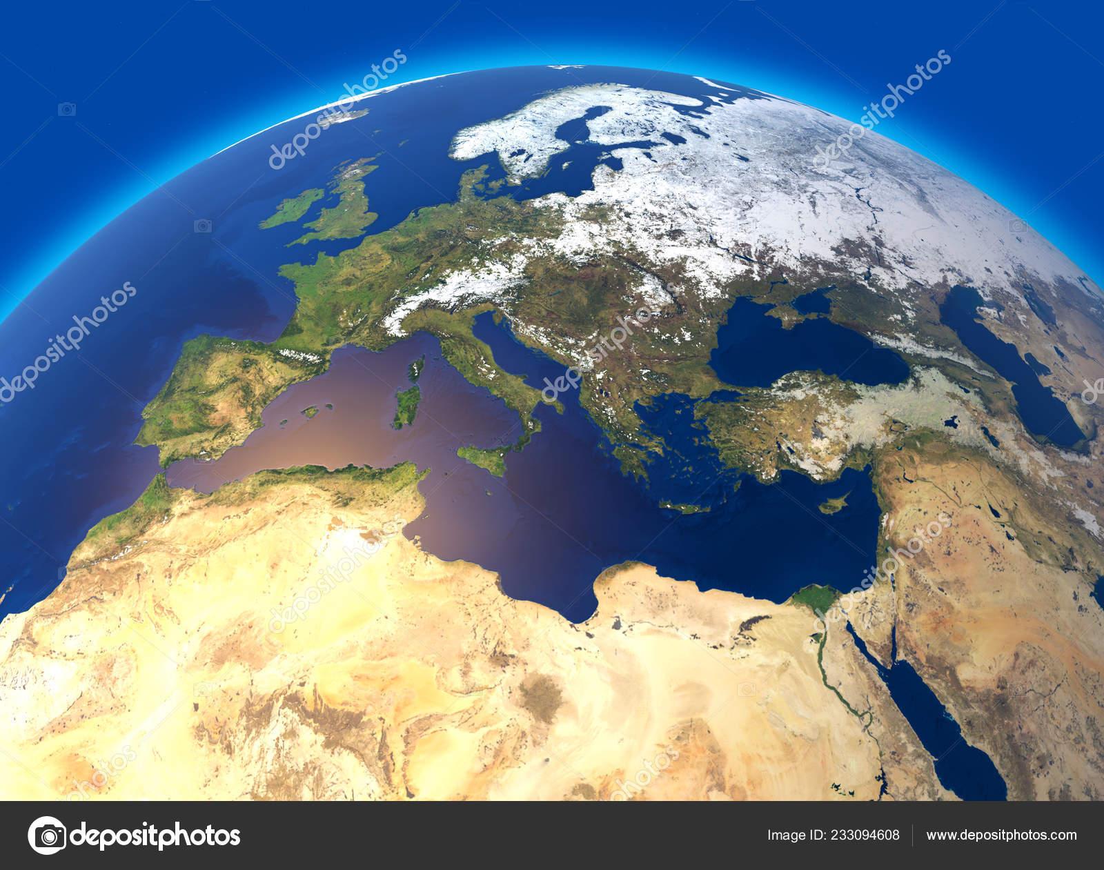 Physical Map World Europe North Africa Globe Hemisphere ...