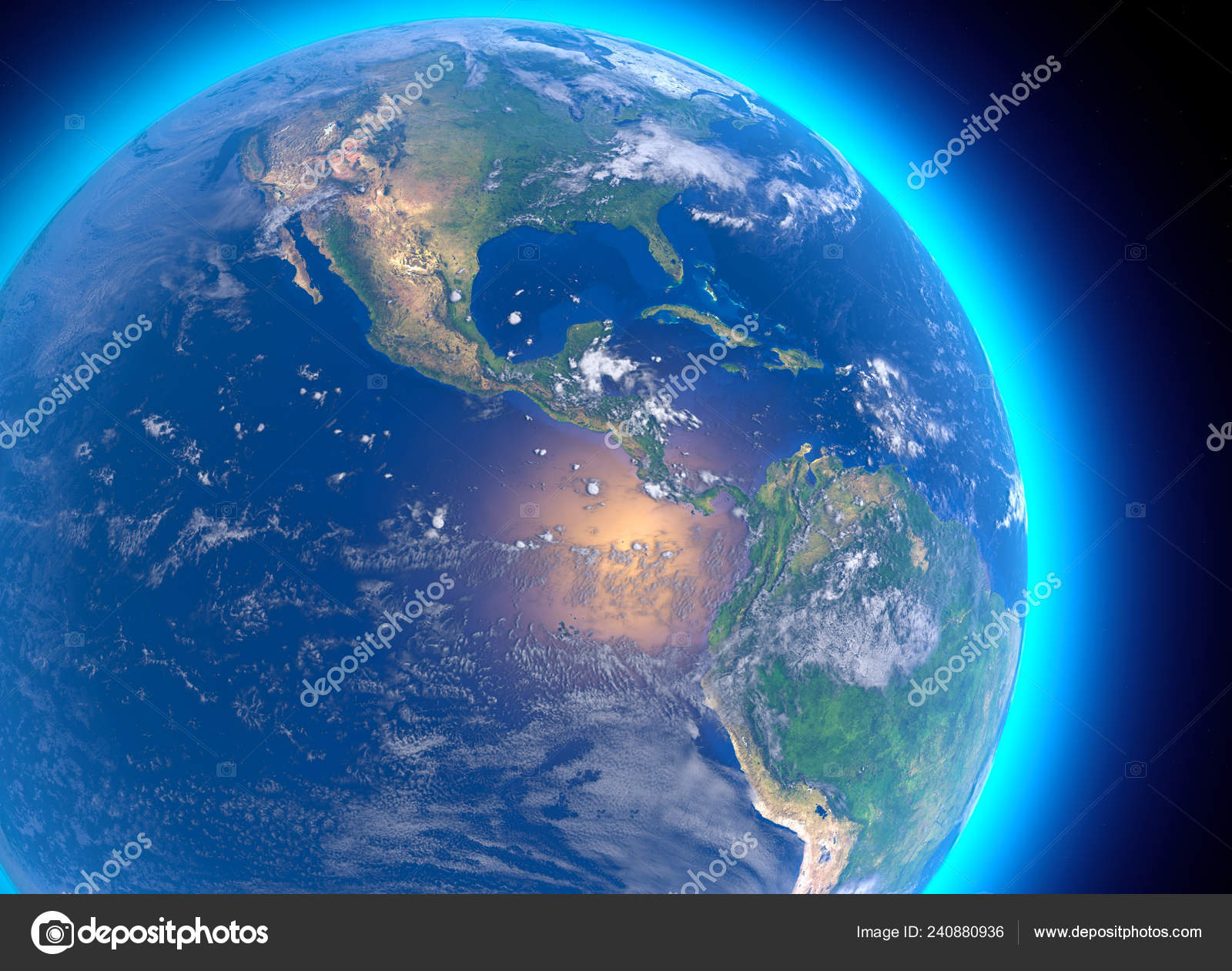 Physical Map World Satellite View Central America Globe ...