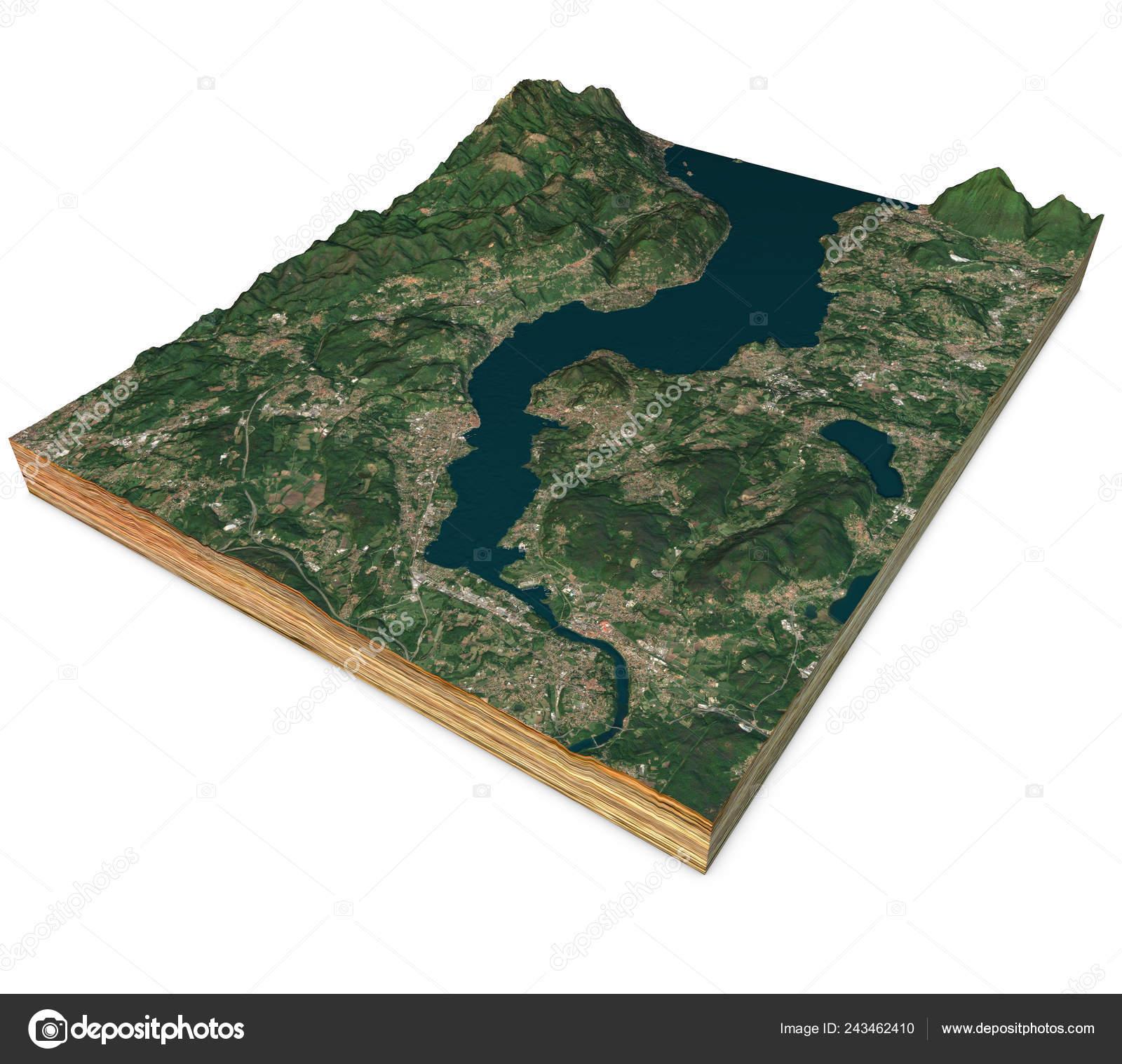 Lago Maggiore Karte.Satelliten Ansicht Des Lago Maggiore Karte Berge Und Reliefs Schnitt