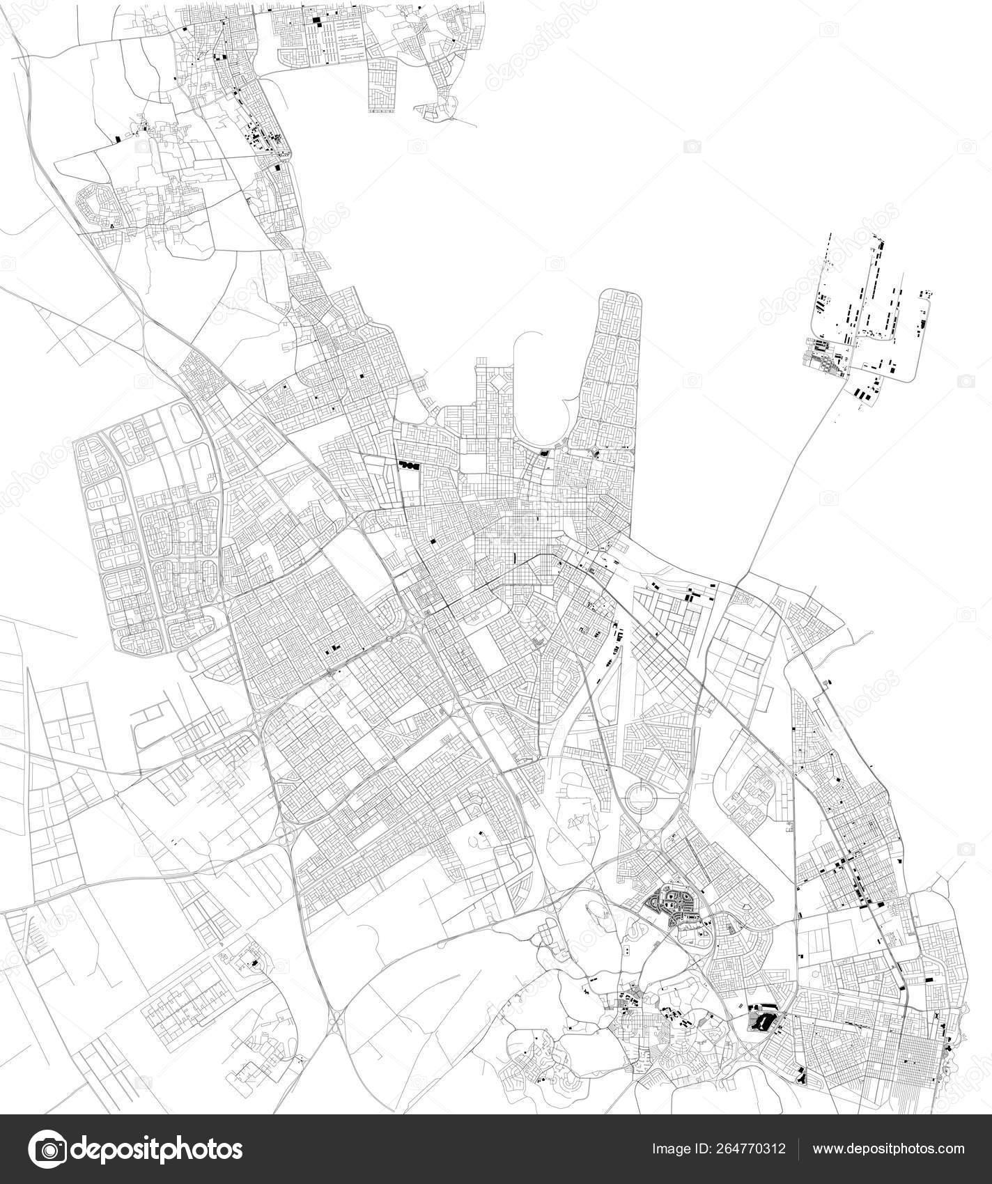 Satellite Map Dammam Capital Eastern Province Saudi Arabia Map ... on