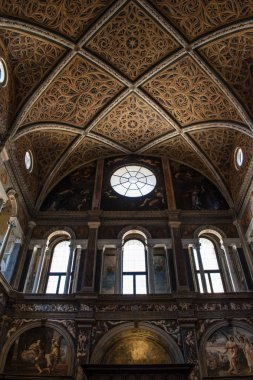 Milan, Italy, Europe, 03/28/2019: the interior of San Maurizio al Monastero Maggiore, a 1518 church known as the Sistine Chapel of Milan, details of the chapels in the faithful's area with the frescoes by Aurelio Luini
