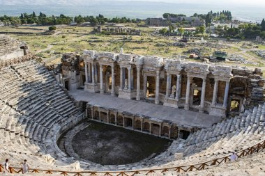 Turkey: aerial view of the Theatre of Hierapolis (Holy City), built under the reign of Hadrian after the earthquake of 60 AD in the ancient city on hot springs in classical Phrygia whose ruins are near modern Pamukkale
