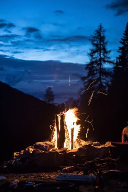 Camping bonfire with yellow and red flames in summer, forest. Co
