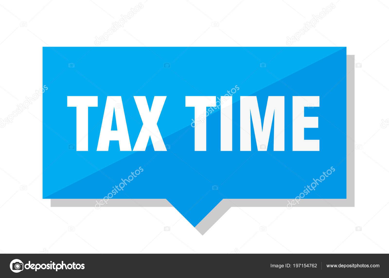 Steuer Zeit Blauen Quadratischen Preisschild — Stockvektor ...