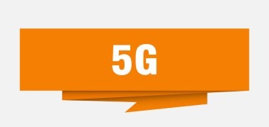 5g sign. 5g paper origami speech bubble. 5g tag. 5g banner