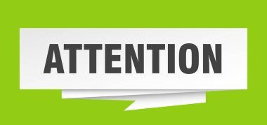 attention sign. attention paper origami speech bubble. attention tag. attention banner