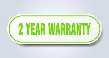2 year warranty sign. 2 year warranty rounded green sticker. 2 year warranty