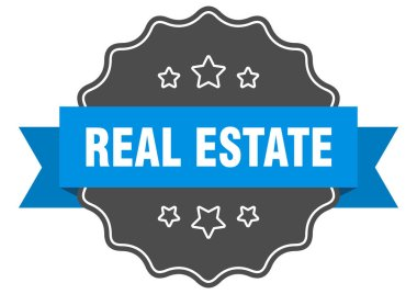 real estate blue label. real estate isolated seal. real estate