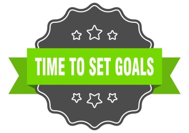 time to set goals isolated seal. time to set goals green label. time to set goals