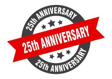 25th anniversary sign. 25th anniversary black-red round ribbon sticker