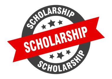 scholarship sign. scholarship black-red round ribbon sticker