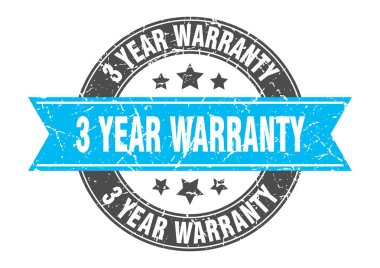 3 year warranty round stamp with turquoise ribbon. 3 year warranty