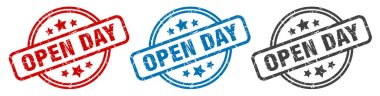 open day stamp. open day round isolated sign. open day label set