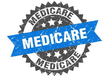 medicare stamp. round grunge sign with ribbon