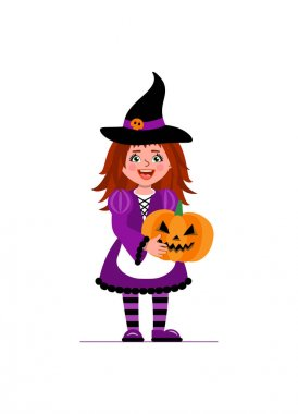 A girl in a witch costume holds a pumpkin for Halloween. Illustration in cartoon style.