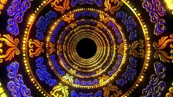 Zlatý Ornament modré pozadí