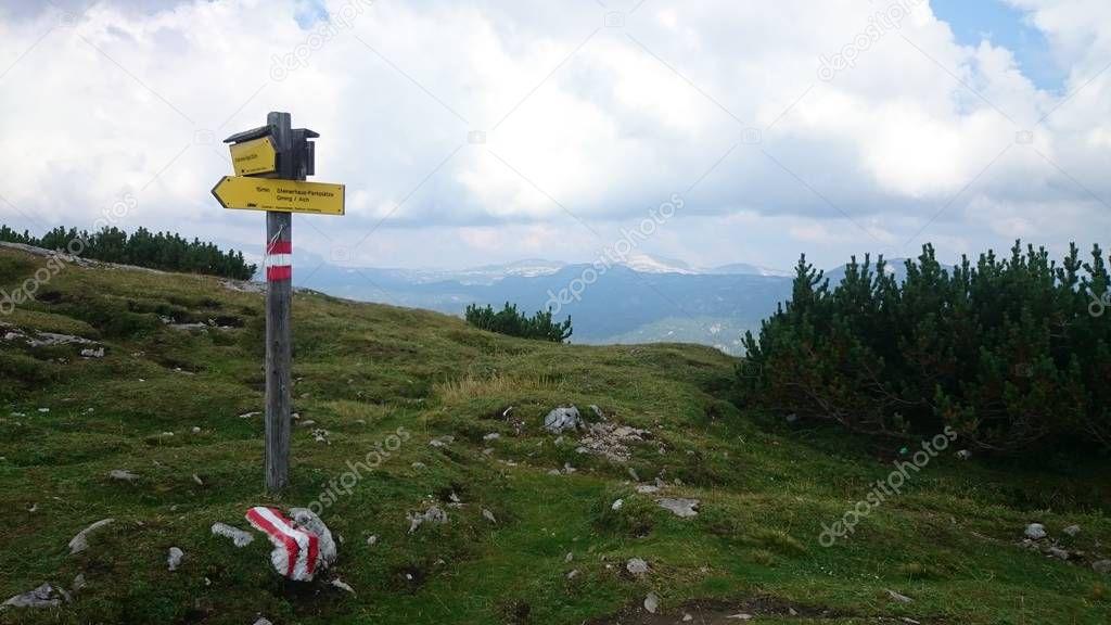 Trail marker on Stoderzinken mountain Austria