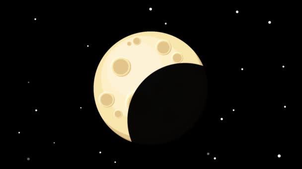 Varrat nélküli rajzfilm animáció a holdfázisok és ragyogó csillagok. Átkelés a Hold a föld árnyék. Eclipse vagy a fázisok a Hold és a villogó csillagok