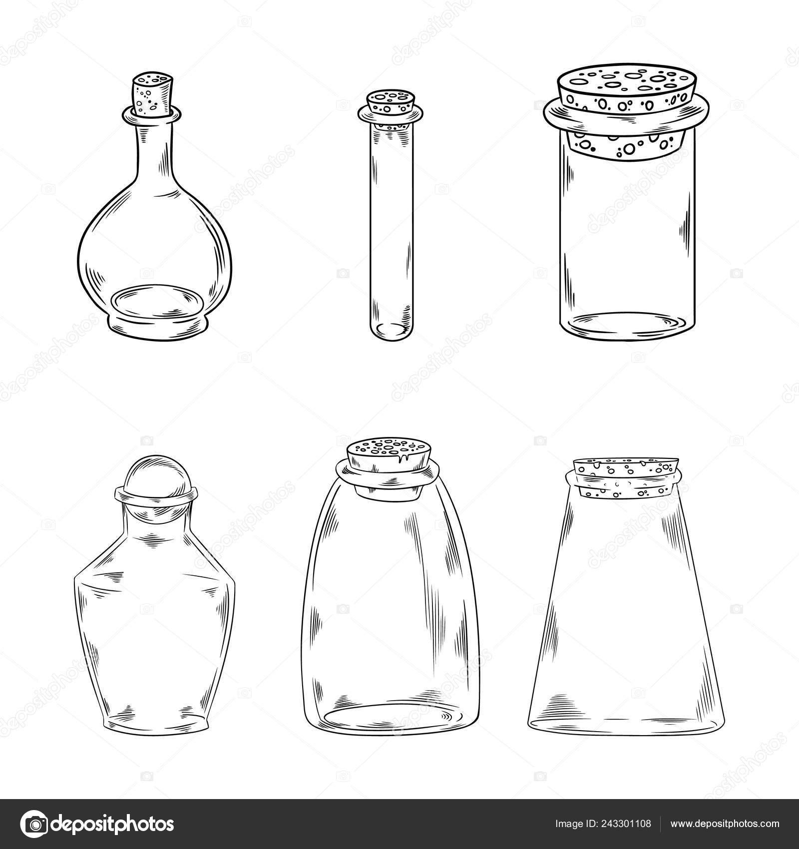 Las Botellas Cristal Garabatos Ilustración Vector Diseño