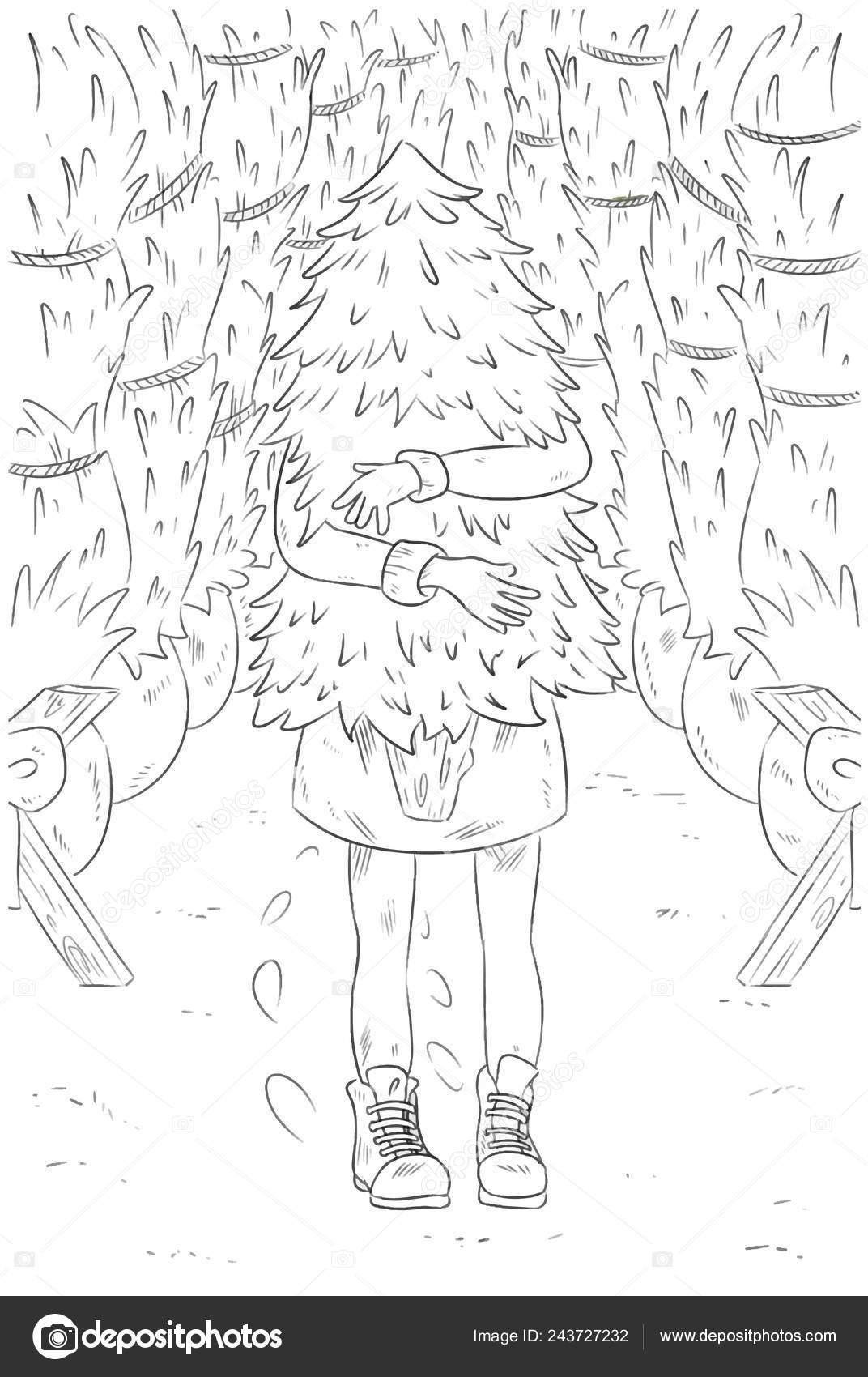 Dibujo Para Colorear Navidad Año Nuevo Chica Compras Para árbol