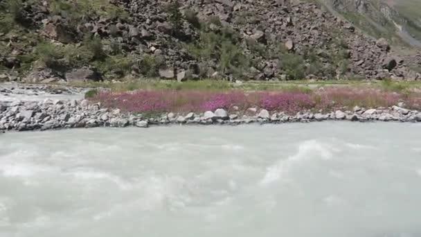 Horský ledovec tekoucím proudem. Altajské hory krajina. Akkem řeka